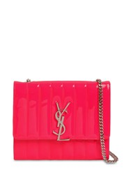 Saint Laurent Viki Quilted Leather Chain Wallet Bag Neon Pink