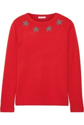 Bella Freud Star Spangle Metallic Intarsia Cashmere Blend Sweater Red