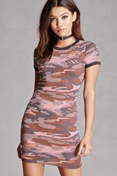Forever 21 Camo Print Bodycon Dress Pink