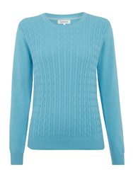 Tulchan Round Neck Cable Jumper Blue