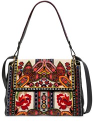 Etro Linen Shoulder Bag W Patches Multicolor