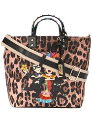 Dolce And Gabbana Flamenco Leopard Print Tote Brown