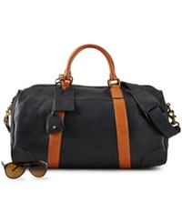 Polo Ralph Lauren Two Toned Leather Duffel Bag Black