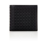 Balenciaga Men's Grid Embossed Wallet Black Blue Black Blue