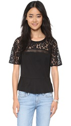Rebecca Taylor Guipure Lace Ruffle Tee Black