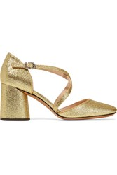 Marc Jacobs Haven Glittered Leather Pumps Gold