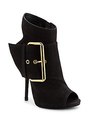 Giuseppe Zanotti Leather Cutout Heel Booties Black
