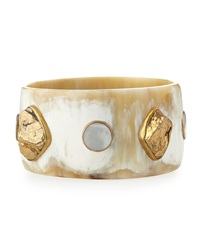 Ashley Pittman Nguvu Horn Bangle Bracelet W Mother Of Pearl And Pyrite