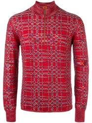 Missoni Zipped Collar Jumper Red