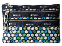 Le Sport Sac Classic 3 Zip Pouch Travel Daisy Wallet Blue