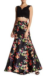 City Triangles 2 Piece Sleeveless Crop Top With Printed Skirt Black