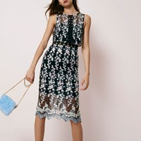 River Island Black Embroidered Sleeveless Bodycon Dress