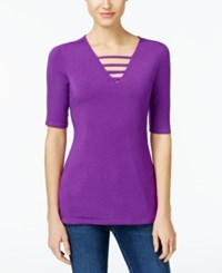 Inc International Concepts V Neck Cutout Top Only At Macy's Vivid Purple
