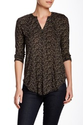 Lucky Brand Chevron Print Blouse Black