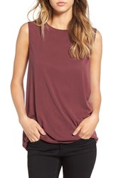 Sun And Shadow Women's Braided Detail Knit Tank Burgundy Stem
