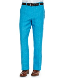 Zanella Solid Linen Dress Pants Aqua