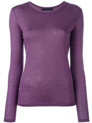 Les Copains Round Neck Longsleeved T Shirt Pink Purple