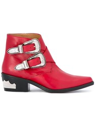 Toga Cowboy Ankle Boots Red