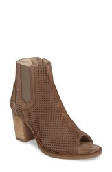 Bos. And Co. Women's Brianna Perforated Chelsea Boot Taupe Suede