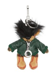 Burberry Thomas Bear Charm In Leather Jacket Green