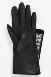 Fownes Bros 'Basic Tech' Cashmere Lined Leather Gloves Black