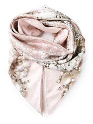 Elie Saab Pearl Print Scarf Pink And Purple