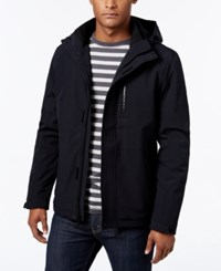 Calvin Klein Men's Softshell Hooded Jacket With Faux Fur Lining Midnight