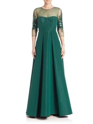 Pamella Roland Paneled Silk Faille Gown Emerald