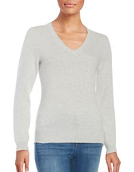 Lord And Taylor V Neck Cashmere Sweater Light Grey Heather