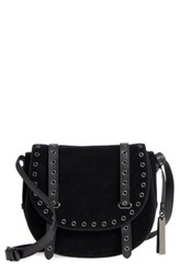 Vince Camuto Areli Suede And Leather Crossbody Saddle Bag Black Noir