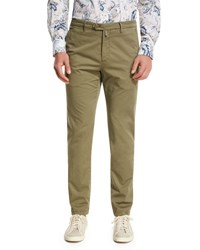 Kiton Flat Front Chino Trousers Khaki Light Brown