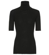 Bottega Veneta Ribbed Turtleneck Wool Sweater Black