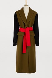 Msgm Belted Wool Coat Green Red