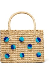 Nannacay Baby Maldives Pompom Embellished Woven Raffia Tote Sand Gbp