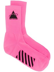 Off White Embroidered Logo Socks Pink