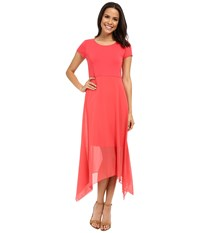 Vince Camuto Short Sleeve Dress W Shark Bite Chiffon Overlay Guava Fruit Women's Dress Pink