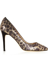 Lucy Choi London Charlotte Sequinned Leopard Print Canvas Pumps