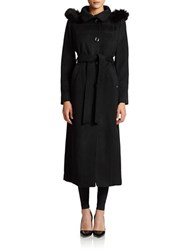 Ellen Tracy Hooded Maxi Coat With Fox Fur Trim Black