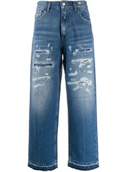 Pinko High Waisted Cropped Jeans Blue