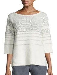 Lafayette 148 New York Merino Wool And Cashmere Metallic Stitch Sweater Cloud Multi