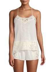 In Bloom Cotton Two Piece Lace Camisole And Shorts Set Ivory