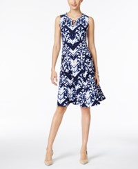 Jm Collection Dyed Pattern Fit And Flare Dress Only At Macy's Leaf Dye