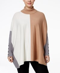 Alfani Plus Size Colorblock Turtleneck Poncho Sweater Only At Macy's Color Block Camel