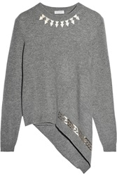 Vionnet Asymmetric Printed Cashmere And Wool Blend Sweater Gray