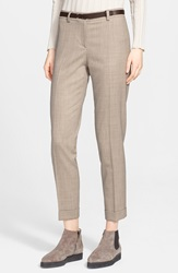 Fabiana Filippi Stretch Wool Ankle Pants Taupe