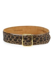 W. Kleinberg Textured Anaconda Leather Belt Leopard Print