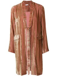 Ailanto Striped Belted Jacket Pink And Purple