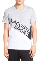 Lacoste Men's Lifestyle Sport Graphic T Shirt Silver Chine White Black