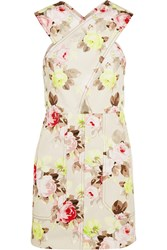 Carven Floral Print Denim Mini Dress Pink