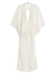 Adriana Degreas Plunging Neck Guipure Lace Maxi Dress White